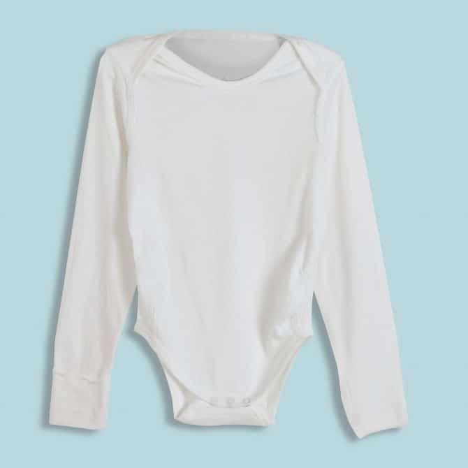 Babybodysuit with foldaway mitts flat